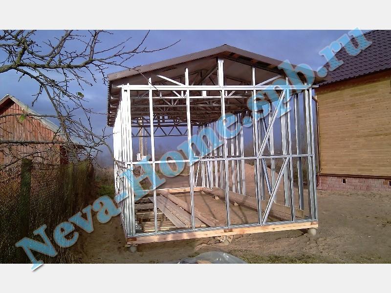 Каркасный гараж из легких стальных конструкций