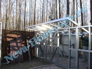 Сборка и монтаж крыши хозблока для дачи из ЛСТК