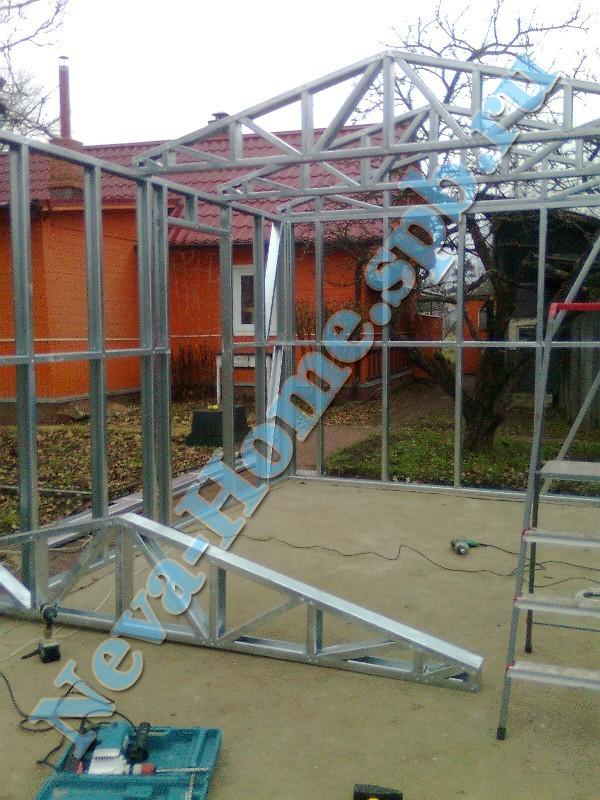 Процесс сборки гаража из металлопрофиля